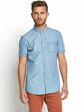 GOODSOULS MEN'S SHORT SLEEVE SHIRT, SIZE SMALL, CHAMBRAY BLEACHED WASH