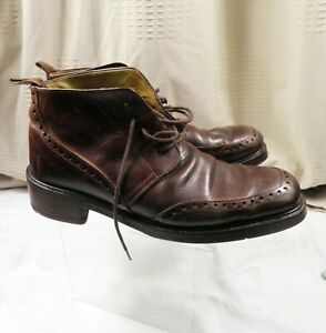 Rider Burns Handcrafted Dark Tan Leather Boot Shoe UK 9.5 Made in Italy