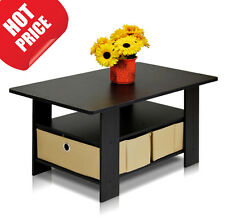 Coffee Table Modern Furniture Small Storage Wood Living Room Bins Desk Espresso