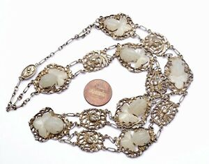 1920's Chinese Solid Silver White Jade Carved Carving Goldfish Shrimp Necklace