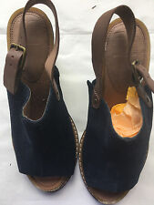 M&S Footglove Ladies Blue Suede Leather Open Toe Sling back Sandals, Size 3 1/2