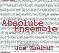 Absolute Ensemble   Joe Zawinul Kristjan Jarvi   CD 2010   FREE Postage