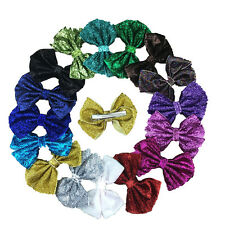 16pcs 4inch Glitter Girls Hair Bow with Clip,Sequin Hairbows for Kids
