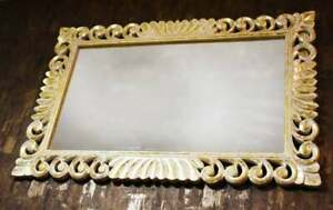 Wooden Mirror Frame White Color With Golden Foil Finish Best For Living Room