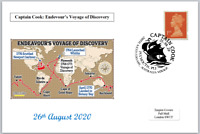 2020 captain cook 250th anniv first voyage ships maps postal card 150 x 100