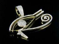 1Ct Round Cut D/VVS1 Diamond Eye Of Horus Pendant 14K Yellow Gold Over