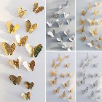 12Pcs 3D Butterfly Wall Stickers Art Decal Home Room Decoration Decor For Kids