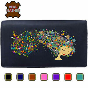 Womans Purse Girl with Flower and Bird Hair Klassek Animal Leather Hippy Wallet