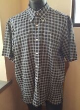 Nautica Blue Check Mens Size Large Short Sleeve Cotton Button Down Casual Shirt