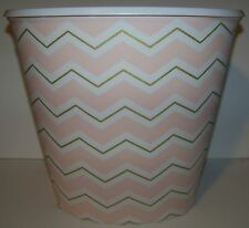 Chevron Light Pink Gold and White Baby Nursery Zig Zag Wastebasket Trash Can
