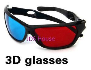 3D digital video Glasses Plastic Frame Resin Lens Blue+Red