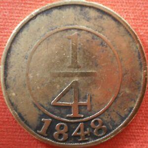 DOMINICAN REPUBLIC ¼ REAL 1848 Crosslet 4 Dominicana Dominikanische Dominicaine