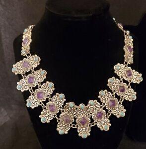 Sterling Silver  23 Karat of Amethyst & Turquoise Necklace, Bracelet & Earrings