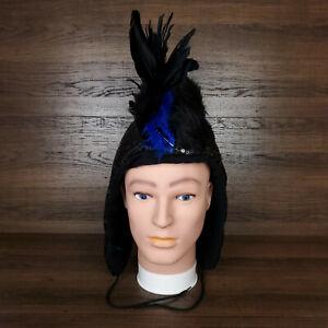 Party Mohawk Hood Black Sequins Vegan Fur Blue Feathers EDM Rave Festival Dark