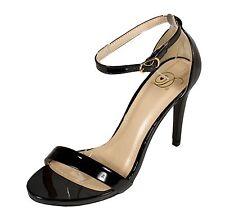 JAIDEN Delicious Women's Ankle Strap Stiletto Sandals  Black Patent Leatherette