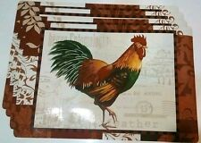SET OF 4 FRENCH COUNTRY ROOSTER FLORAL KITCHEN DECOR TABLE VINYL PLACEMATS 12x18
