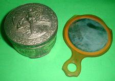 New ListingDusting powder antique vintage Metal Can and vanity hand mirror