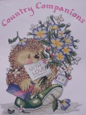 EDWARD HEDGEHOG CARRYING FLOWERS  CHOCOLATES WITH LOVE Cross Stitch LEAFLET
