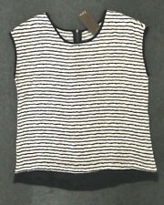 Katies: Size: 10. Slimming Design White with Black Stripe, Small-Sleeve, Top