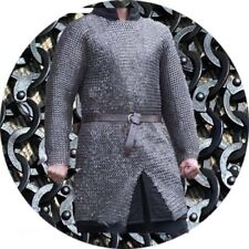 Flat Riveted With Flat Washer Chainmail shirt 9 mm M Size full sleeve Black
