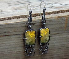 Contemporary style dangling sterling silver earrings with natural bumblebee jasp