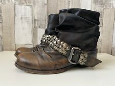 Dune Brown Antiqued Leather Studded Flare Ankle Boots Western Style Size 4