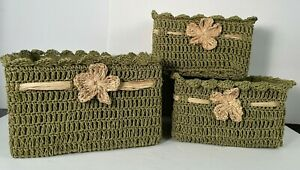 Pier 1 Set of 3 Madison Crochet Baskets