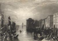 Le Havre Seine Crique de Rouen Trading Port City View- c.1850 Engraved Old Print