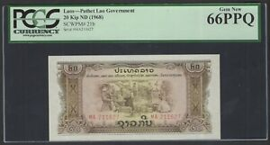 Lao 20 Kip ND(1968) P21b Uncirculated Grade 66