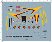 Detail Up 1/72 Scale MIG-29A fulcrum german special Model Kit Water Slide Decal