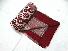 Handmade Vintage Ajrakh Print Quilt Blanket Cotton Embedded Razai By Queen Size