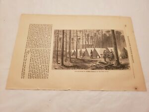 CR34) Headquarters of Sherman in the Pine Woods 1865 Harpers Monthly Engraving