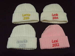 Baby Knitted Wool Embroidered Personalised Hat With Saying Any Name & Date