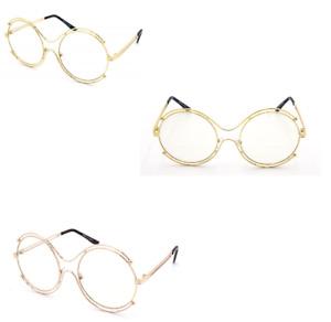 WOMEN CLASSIC VINTAGE ROUNDRETRO Clear Lens Glasses Double Gold Frame Sunglasses