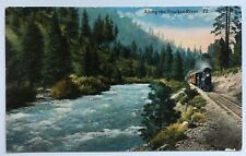 1926 CA Postcard Lake Tahoe Along the Truckee River locomotive railroad track RR