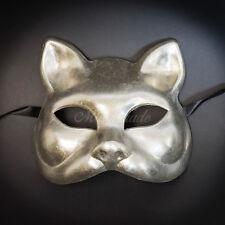 Gatto Cat Venetian Halloween Costume Masquerade Mask SILVER