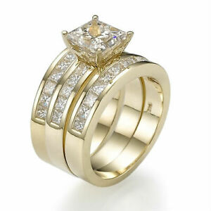DIAMOND 2 BANDS SET RING 4.65 CT GENUINE SIDE STONES 18 KT YELLOW GOLD SI2