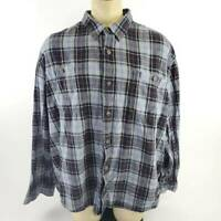 Duluth Trading Mens Button Front Shirt Black Blue Plaid Long Sleeve Flannel 3XL
