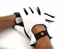 Mens High Quality Classic Black and White Soft Leather Driving Gloves 8925 Large