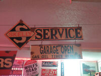 Antique style vintage look Skelly Gas dealer service gas pump 2 piece sign set