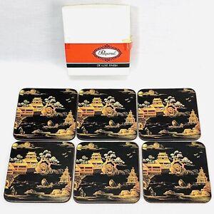 Vintage Pimpernel De Luxe Finish Coasters Moonlight Pavilion Pagoda Set of 6