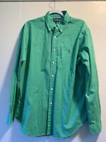 Ralph Lauren Green and White Plaid Long Sleeve Button Up Shirt Size Large