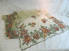 """Vintage 1920's Embroidered Flapper Scarf / Shawl / Wrap - 74"""" x 23"""""""