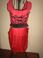 (NEW WITH TAGS)WOMENS LIPSY RED DRESS WITH BLACK BOW DRESS SIZE 8 APPROX 31 LONG