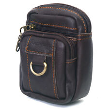 Men's Leather Cigarette Case Mini Waist Belt Loops Bag Coin Pocket Wallet 0988a