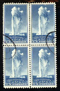 SCOTT 744 1934 5 CENT OLD FAITHFUL NATIONAL PARKS ISSUE BLOCK OF 4 USED VF!