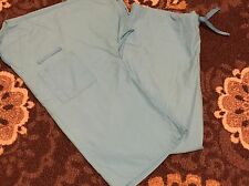 Cherokee Workwear Turquoise Uniform SCRUB Set TOP Drawstring PANTS Small S GUC