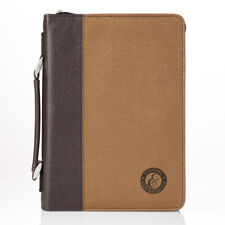 Strong & Courageous Two-Tone Bible Cover - Joshua 1:9, Size Large