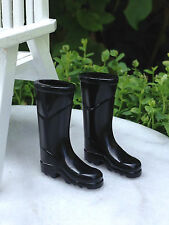 Miniature Dollhouse FAIRY GARDEN Accessories ~ Black Rubber Rain Work Boots NEW