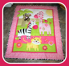 Garanimals Quilted Multi Color Baby Stroller Crib Blanket Wall Hanging Throw Euc